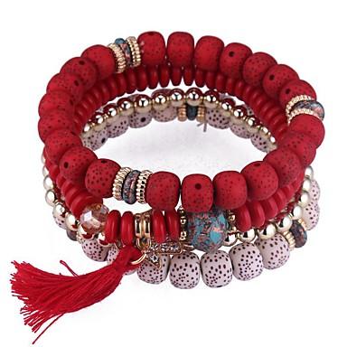 abordables Bracelet-4pcs Bracelet à Perles Parure Bracelet Bracelets de mémoire Femme Multirang Empiler Tanzanite synthétique Résine dames Rétro Vintage Mode Multicouches Bracelet Bijoux Arc-en-ciel Rouge Bleu pour
