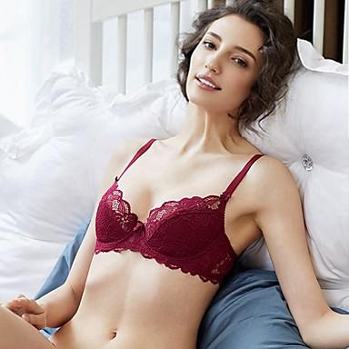 billige BH'er-Kvinner Sexy Sett med truse og BH Dytt opp / Blonde-BH / BH med bøyler 3/4 Kop - Blomstret / Jacquardvevnad / Broderi