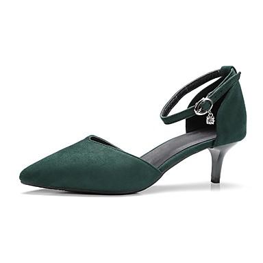 Pentru femei Pantofi PU Primavara vara Balerini Basic Tocuri Toc Mic Vârf ascuțit Verde / Roz