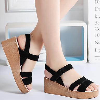 Printemps Daim Hauteur compensée de Sandales Noir Amande 06734979 Chaussures semelle Femme Confort été ZAggwx