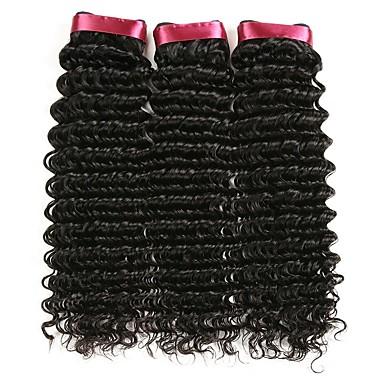 3 pachete Păr Brazilian Buclat Păr Natural Umane tesaturi de par / Extensii din Păr Natural 8-28 inch Culoare naturală Umane Țesăturile de par Fără calotă Cea mai buna calitate / pentru Femei de