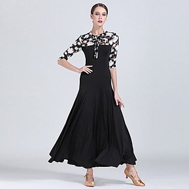 cheap Dancewear & Dance Shoes-Ballroom Dance Dresses Women's Training / Performance Lace / Milk Fiber Pattern / Print / Split Joint Half Sleeve High Dress