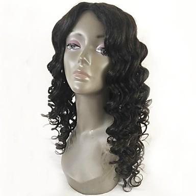 Păr Remy Față din Dantelă Perucă Păr Peruvian Ondulat Negru Perucă Frizură în Straturi 130% Densitatea părului cu păr de păr Linia naturală de păr pentru Femei de Culoare Negru Pentru femei Scurt