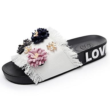 voordelige Damespantoffels & slippers-Dames Slippers & Flip-Flops Platte hak Open teen  Parel / Satijnen bloem Denim Comfortabel Zomer Zwart / Blauw / Roze