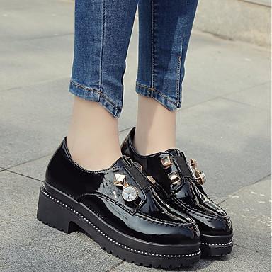 Pentru femei Pantofi PU Primăvară Confortabili Mocasini & Balerini Toc Jos Negru