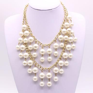 billige Halskjeder-Dame Perle lagdelte Hals Perlehalskjede Multi Layer Kunstnerisk Elegant Imitert Perle Hvit 47+5 cm Halskjeder Smykker 1pc Til Bryllup Engasjement Gave