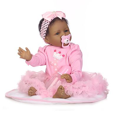 billige Reborn-dukker-NPKCOLLECTION NPK DOLL Reborn-dukker Pige Doll Babypiger 24 inch Silikone - Nyfødt Gave Børnesikker Ikke Giftig Tippede og forseglede negle Naturlig hudfarve Børne Pige Legetøj Gave