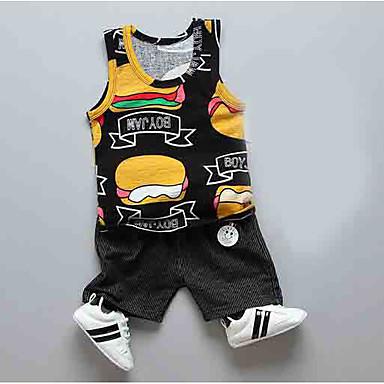 Bebelus Băieți Imprimeu / Bloc Culoare Fără manșon Set Îmbrăcăminte