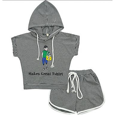 Copii Fete Activ Zilnic Dungi Imprimeu Manșon scurt Regular Bumbac / Poliester Set Îmbrăcăminte Negru 140