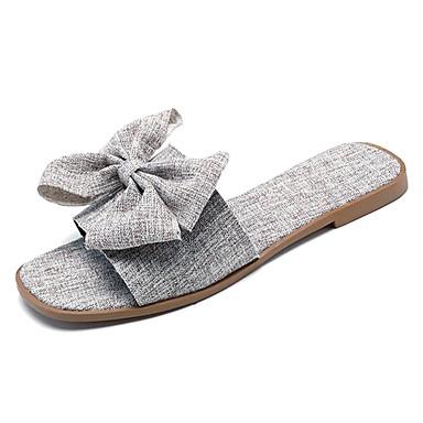 Women's Shoes Canvas / PU(Polyurethane) Summer Slingback Slippers & Flip-Flops / Flat Heel Bowknot Gray / Flip-Flops Khaki 298b24