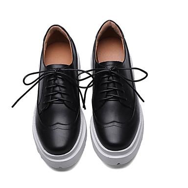 Cuir Eté Chaussures Creepers Confort Blanc Oxfords Femme Bout 06766530 Nappa fermé Noir tKA5wyxy7