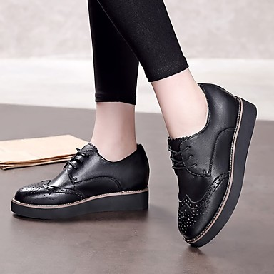 Noir Cuir Printemps Marron Talon Confort 06728738 Chaussures Bas Femme Oxfords TAxq0cFv
