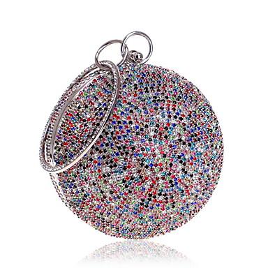billige Vesker-Dame Krystalldetaljer polyester / Legering Aftenveske Rhinestone Crystal Evening Bags Lys Gull / Regnbue / Sølv / Høst vinter