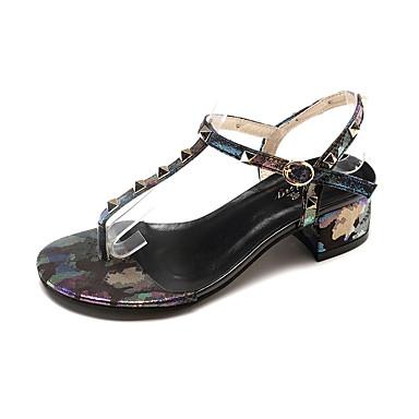 Pentru femei Pantofi PU Vară Confortabili Sandale Blocați călcâiul Vârf rotund Ținte Negru / Argintiu / Rosu