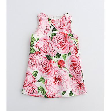Bebelus Fete De Bază Floral Fără manșon Bumbac Rochie / Copil