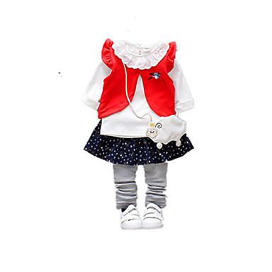Bebelus Fete Activ Negru & Roșu Mată / Geometric Plisată Manșon Lung In Set Îmbrăcăminte / Copil
