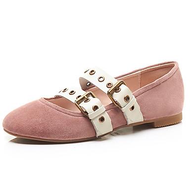 les chaussures en daim été ballerine flats croûton tour / toe boucle noir / tour rose / almond 5dc0d3