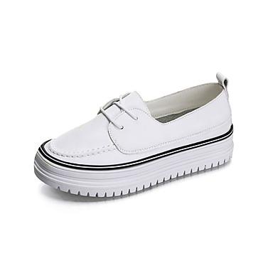 Pentru femei Pantofi PU Vară Confortabili Adidași Toc Drept Vârf rotund Negru / Verde