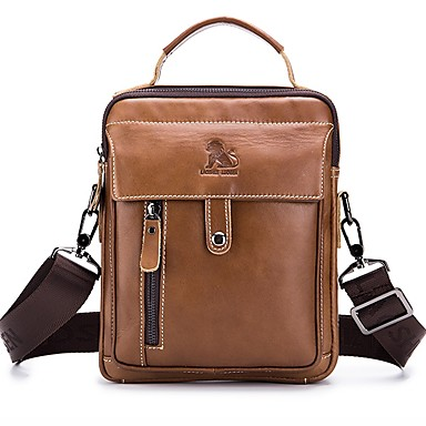 cheap Bags-LAOSHIZI Men's Bags Cowhide Shoulder Bag Zipper Brown