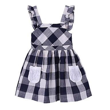 お買い得  女児 ドレス-子供 女の子 ベーシック 日常 チェック ノースリーブ ドレス ネイビーブルー