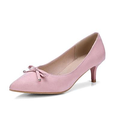 Pentru femei Pantofi PU Primavara vara Balerini Basic Tocuri Toc Mic Vârf ascuțit Negru / Verde Militar / Roz