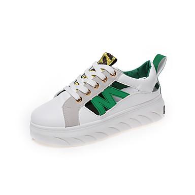 de Tacón Blanco Plano 06754606 Verano Zapatillas Naranja Verde deporte Confort PU Mujer 0IqUYY