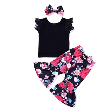 cheap Baby & Kids-Baby Girls' Active Daily Print Sleeveless Long Cotton / Polyester Clothing Set Black