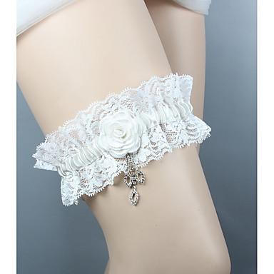 Șifon Satinat / Dantelă Stil Vintage Nunta Garter Cu Piatră Semiprețioasă / Floral / Șifonat Jartiere Nuntă / Party & Seară