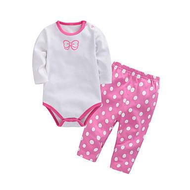 Bebelus Fete Imprimeu Manșon Lung Set Îmbrăcăminte