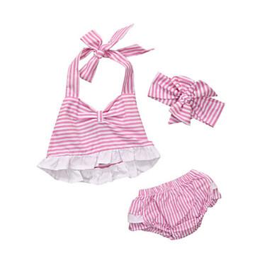 Bebelus Fete De Bază Dungi Fără manșon Set Îmbrăcăminte