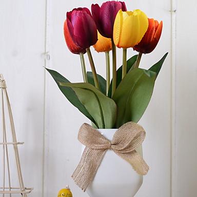 Flori artificiale 1 ramură Clasic Pastoral Stil Lalele Față de masă flori