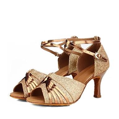 0bb3456a3 للمرأة أحذية رقص جلد ظبي صندل نحيفة عالية الكعب مخصص أحذية الرقص ذهبي