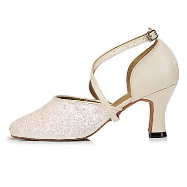 baratos Shall We® Sapatos de Dança-Mulheres Paetês Sapatos de Dança Moderna Lantejoula Salto Salto Cubano Bege / Ensaio / Prática