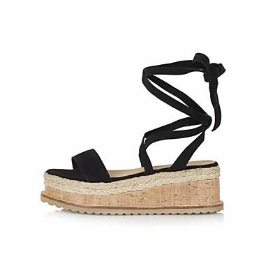 de compensée Eté semelle ouvert Hauteur Noir Chaussures Femme Chameau Gladiateur Sandales 06754839 Bout Vert Microfibre RSWqY