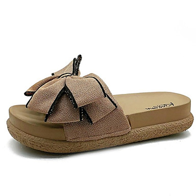 Pentru femei PU Vară Pantof cu Berete Papuci & Flip-flops Toc Drept Funde Negru / Roz / Migdală