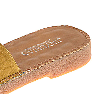 Negro Plano flip Zapatos y Confort Zapatillas Amarillo Mujer flops redondo Dedo 06720990 Tacón Primavera PU zBwqaqW71