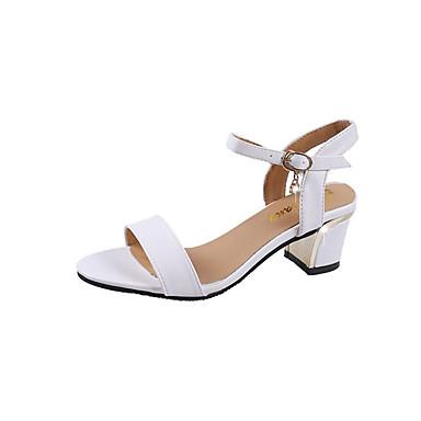 Pentru femei PU Vară Pantof cu Berete Sandale Toc Îndesat Alb / Negru