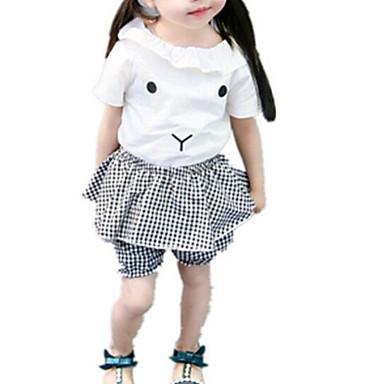 Bebelus Fete De Bază Zilnic Geometric Manșon scurt Regular Regular Poliester Set Îmbrăcăminte Alb / Copil