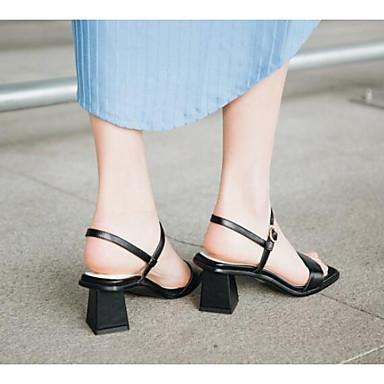 Block Cuir 06766411 Femme ouvert Sandales Heel Boucle Blanc Noir Nappa Bout Confort Chaussures Eté qAYACg