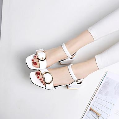 Confort Noir Cuir Blanc Chaussures 06755360 Eté Talon Sandales Bottier Femme wtf8w