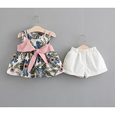 Bebelus Fete Activ Zilnic Floral Fără manșon Regular Poliester Set Îmbrăcăminte Albastru piscină 100 / Copil