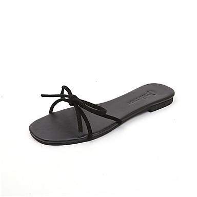 Pentru femei PU Vară Confortabili Papuci & Flip-flops Toc Drept Vârf rotund Funde Negru / Bej
