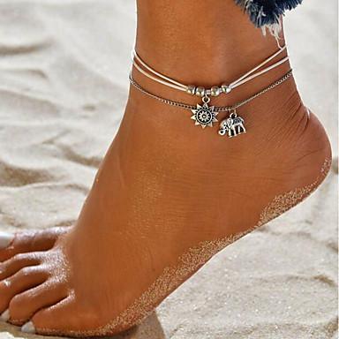 povoljno Ukrasi na tijelu-Žene Kratka čarapa nakit za noge Dvaput Slojeviti Bračni Slon Sunce jeftino Poslastica dame Ciganski delikatan Koža Kratka čarapa Jewelry Pink Za Praznik Plaža Bikini