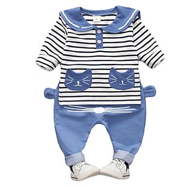 Bebelus Unisex De Bază Dungi Manșon Lung Set Îmbrăcăminte / Copil
