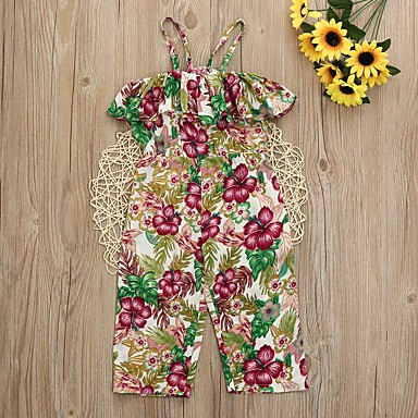 918f14e8bffd8c Kids Girls' Active Street chic Holiday Floral Ruffle Sleeveless Cotton  Polyester Spandex Overall & Jumpsuit Yellow