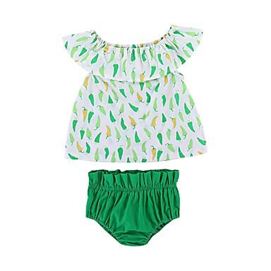 Bebelus Fete Activ Imprimeu Fără manșon Lung Bumbac Set Îmbrăcăminte