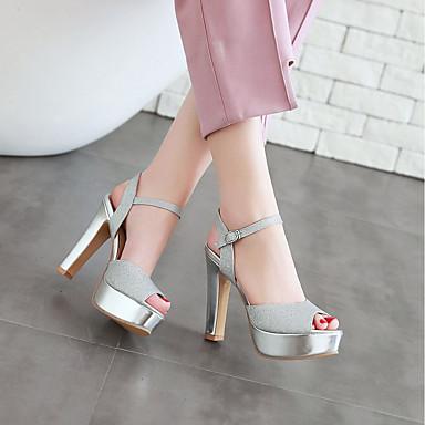 ouvert Bottier Blanc Chaussures Printemps Sandales été Faux Talon Noir 06736324 Argent Bout Femme Cheville Bride de Boucle Cuir Un677vx