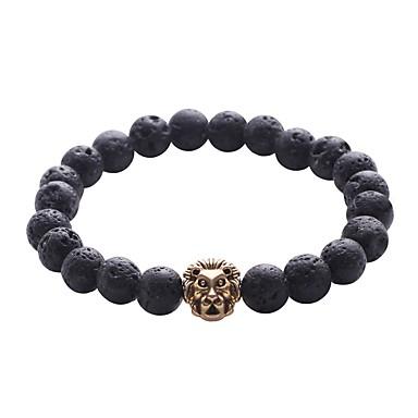 abordables Bracelet-Bracelet à Perles Bracelet Hologramme Bracelet Homme Rétro Vintage Naturel Mode Bracelet Bijoux Noir Forme de Cercle pour Cadeau Quotidien