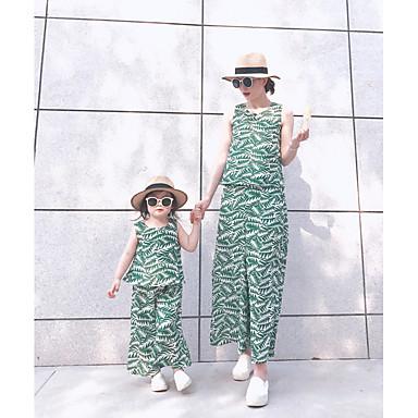 Mama și cu mine De Bază Floral Fără manșon Set Îmbrăcăminte