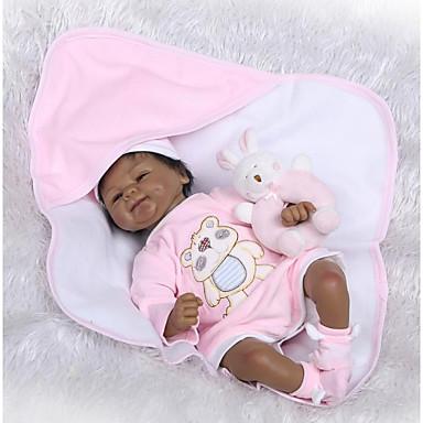 abordables Muñecas reborn-NPKCOLLECTION MUÑECA NPK Muñecas reborn Bebé Muñeca africana 18 pulgada Bonito Nuevo diseño Artificial Implantation Brown Eyes Kid de Unisex / Chica Juguet Regalo